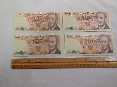 1986 Poland 100 Zlotych banknote lot of 4 UNC