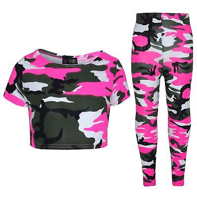 Girls Tops Kids Camouflage Print Trendy Crop Top & Legging Set Age 7-13 Years
