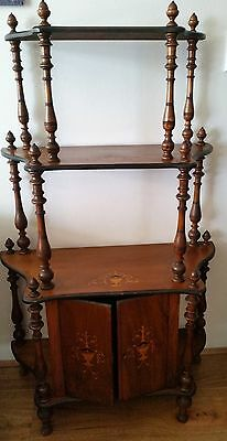 Antique Victorian Whatnot 4 tier with 2 door cabinet inlaid marquetry STUNNING