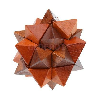Wooden Intelligence Toy Brain Teaser Game 3D Brown Star Puzzle for Kid Adult