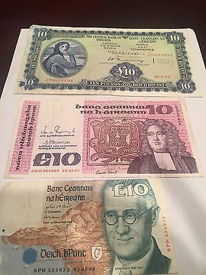 3 Ten Pound Ireland Banknotes -  Series A, B And C !!