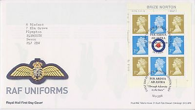 Gb Royal Mail Fdc Cover 2008 Raf Uniforms Prestige Pane London Pmk