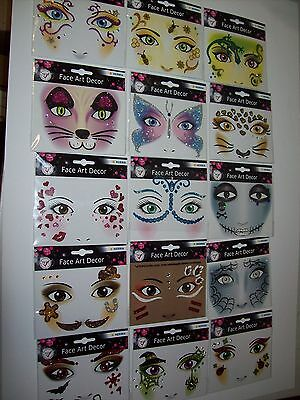 FACE ART Gesicht Sticker Face Tattoo Glitzer Fasching Halloween Gesichtstattoo
