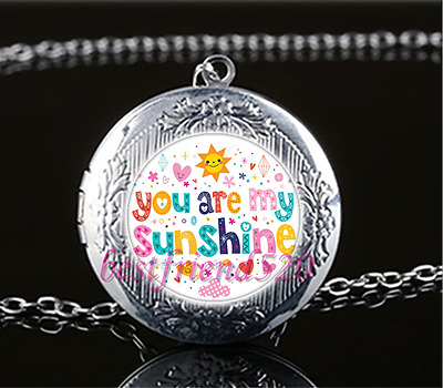 You Are My Sunshine Photo Cabochon Glass Tibet Silver Locket Pendant Necklace