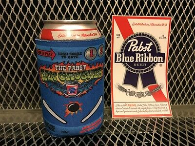 PBR PABST BLUE RIBBON Beer RARE Can Crusher Pinball 12oz Koozie FREE Sticker NEW