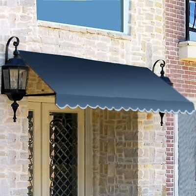 Awntech 8' Dallas Retro Store Business Commercial Window Entry Awning Dusty Blue