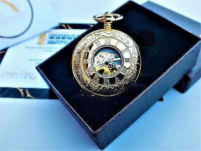 24ct Gold Plated Mens Pacifistor Antique Mechanical Pocket Watch Gift Boxed 24k