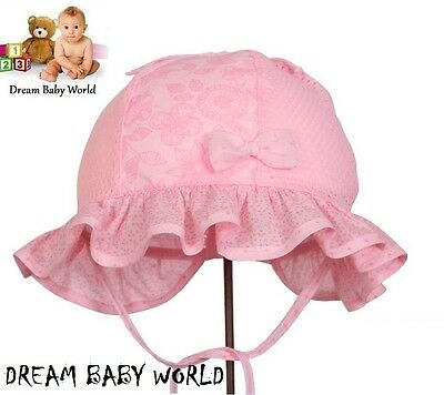 RICH Cotton girls sun hat bonnet Spring Summer TIE UP Baby CAP 0 - 24 months