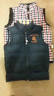 NWT Flow Society Youth Vest Small Puffer Blue Lacrosse NEW msrp $65