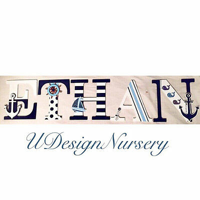 Nautical Wooden Wall Letters - Nautical Nursery Decor - Whale Theme Nursery