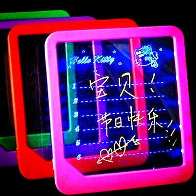 LED Light-Up Message Board W/Pen Memo Kitchen Home Gift Portable Writing Tablet