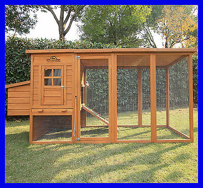 Large 8ft/2.5m Chicken Coop Hen Poultry Ark House Hutch Run Nest New