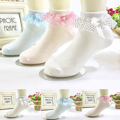 4Pairs Fine Pretty Frilly Lace Trim Girls Ankle Socks Kids Toddlers School Socks