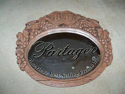 Vtg B & G Barton And Guestier Partager Wine Grapes Leaf Wall Plaque Mirror Sign