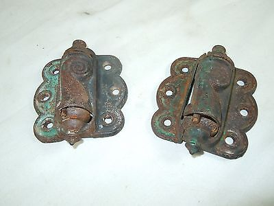 Matching Pair of Antique Iron Spring Hinges for Door/Cabinet STOVER MFG. CO.