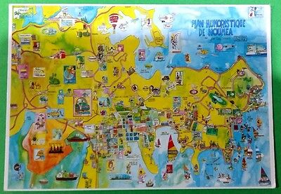 New Caledonia postcard: Nouvelle-Caledonie-Noumea.Humoristic map-plan, posted.