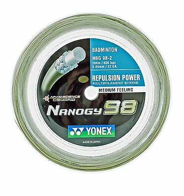 Genuine Yonex NBG98 Nanogy 98 Badminton String - 200m Reel - Cosmic Gold