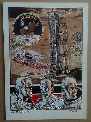 Original Published Artwork Of Apollo 11 By Comic Book Artist Alan Burrows