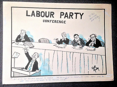 LARGE ORIGINAL ARTWORK BY KEITH MULLEY Neil Kinnock Labour Party Conference
