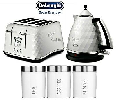 DeLonghi Brillante Kettle and Toaster Set + Tea Coffee Sugar Canisters - White