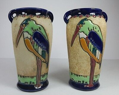 Pair Of Austrian Amphora Twin Handled Vases Art Nouveau Enamel Heron Decoration