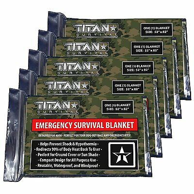 TITAN Two-Sided Emergency Mylar Survival Blankets, 5-Pack | Forest Camo