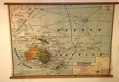 Vintage roll up school map of Oceana