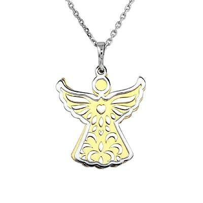 Sterling Silver Necklace w/ Gold & Rhodium Plated Two Pieces Angel Pendant