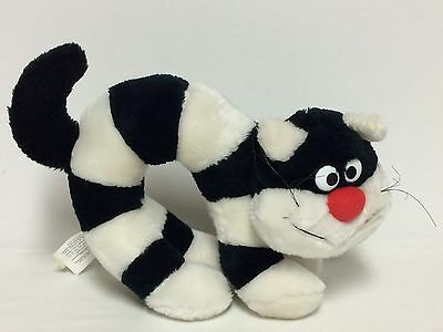 Vtg Applause Plush Archee The Cat Stuffed Animal Black White Stripes Ganz 1984