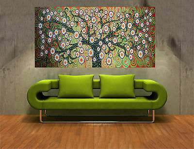 Large Aboriginal Painting Tree Flower Plant  Oil On Canvas Abstract By Jane