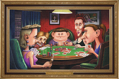 Dogs Playing Poker Ugly Girls College Humor Poster 18x12