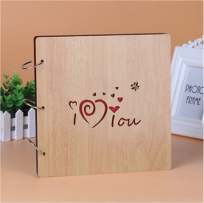DIY 30Pg 26.9x26.4cm BE Wood Cover 3Rings Photo Album Wedding Scrapbook I LOVE U