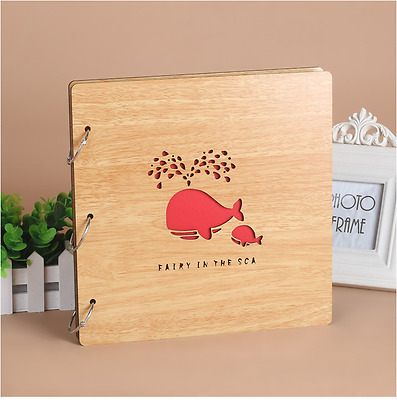 DIY 30Pages 26.9x26.4cm BE Wood Cover 3Rings Photo Album Wedding Scrapbook WHALE