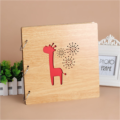 DIY 30Pg 26.9x26.4cm BE Wood Cover 3Ring Photo Album Wedding Scrapbook Giraffine