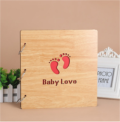DIY 30Pg 26.9x26.4cm BE Wood Cover 3Ring Photo Album Wedding Scrapbook BABY LOVE