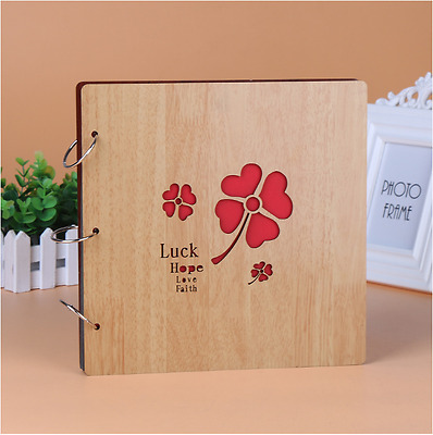 DIY 30Pg 26.9x26.4cm BE Wood Cover 3Rings Photo Album Wedding Scrapbook LUCK