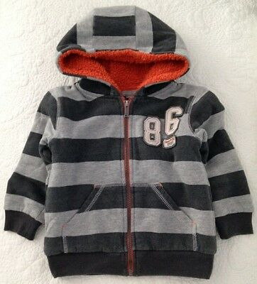 Pumpkin Patch Baby Boy Grey Stripes Jacket With Hood Size 3 Toddler