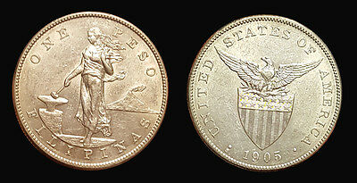 Philippines 1905 S  Peso, Extremely Rare. Key Date, High Grade, Luster Fields.