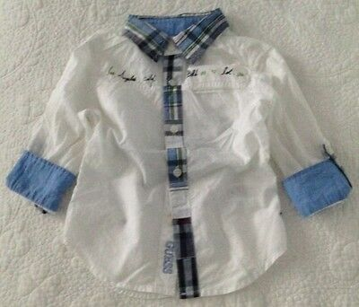 Guess White And Blue Long/Short Sleeve Shirt Baby Boy Size 2 Toddler-Like New