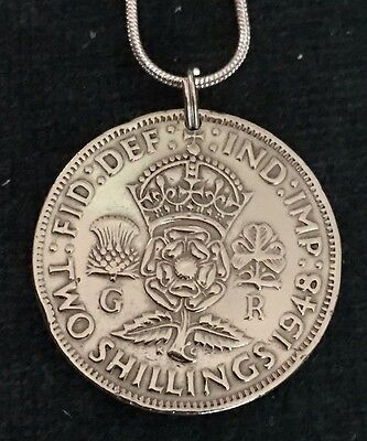 Beautiful Vintage GENUINE 1948 UK COIN Tudor Rose Thistle Shamrock Pendant.