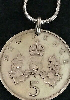Lovely Vintage 1969 Genuine British UK Coin Featuring Thistle And Crown Pendant