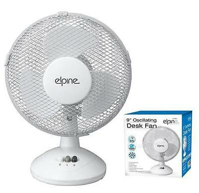 """2 Speed 9"""" Oscillating Desk Fan Cooling Home Office Cool Air Table Portable"""