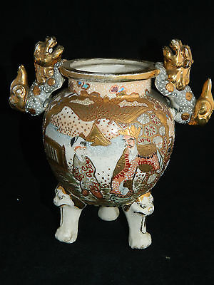 Antique Japanese Satsuma style small pottery vase / lidded pot with foo dogs