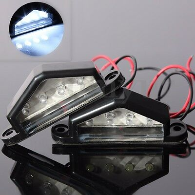 2 pc 4 LED LICENSE NUMBER PLATE LIGHT TAIL REAR LAMP CAR TRUCK TRAILER LORRY Van