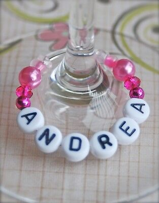 Deluxe Wine Glass Charm - Personalised/any name - Weddings Hen Party Gift idea B