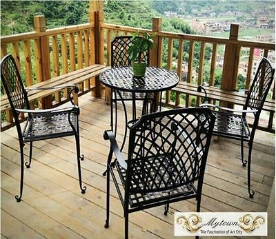 INDOOR OUTDOOR TABLE & CHAIRS PATIO SET Metal Garden Balcony Cafe Black White