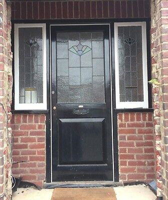 STUNNING ORIGINAL 1930s STAINED GLASS FRONT DOOR, 2 SIDELIGHTS, OAK THRESHOLD