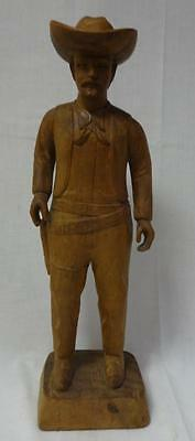 Antique Carved Large Wooden Figure of an American Cowboy