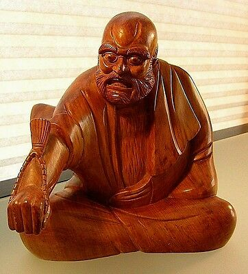 Exceptionally Carved Antique Japanese  Wood Statue Of Seated Figure