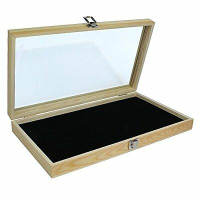 Natural Wood Glass Display Box Top Lid Black Pad Case Multi-Purpose Jewelry Coin